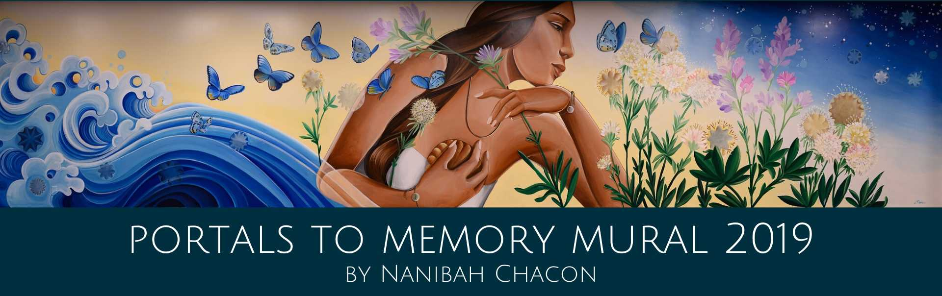 Image of portals to memory mural by nanibah chacon in community room