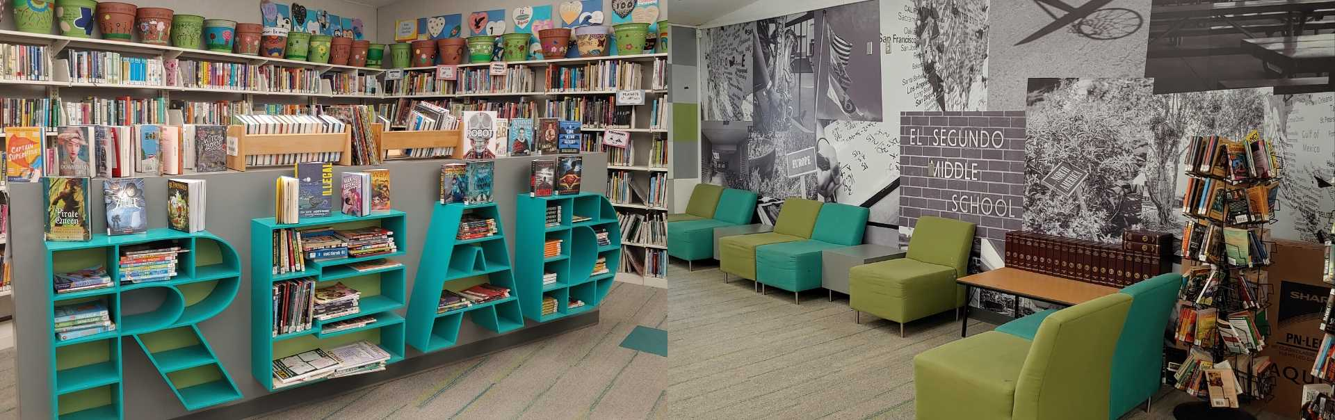 Images of middle school library interior